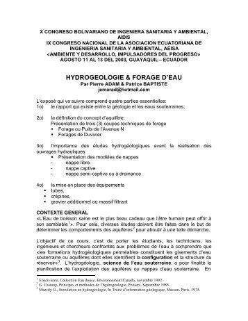 HYDROGEOLOGIE & FORAGE D'EAU - BVSDE Desarrollo Sostenible