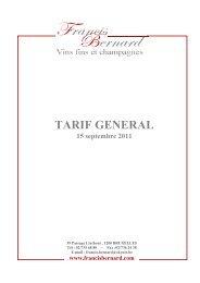 TARIF FRANCIS BERNARD 14-11-2011 - Proximedia