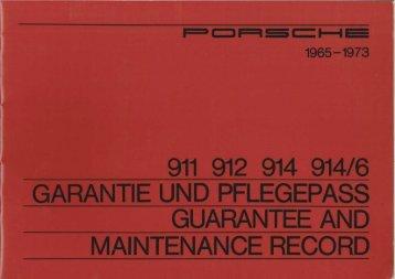 911 912 914 914/6 garantie und pflegepass guarantee and