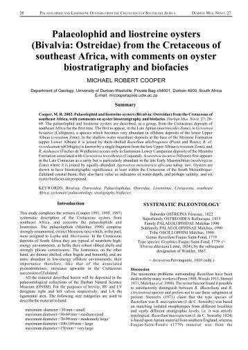 Cretaceous oysters of SE Africa.cdr - Durban