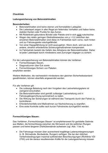 Checkliste Betonstahlmattensicherung - SVG