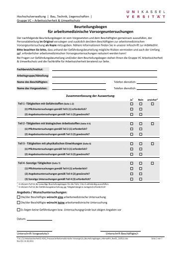 beurteilungsbogen fr arbeitsmedizinische universitt kassel - Personalbeurteilungsbogen Muster