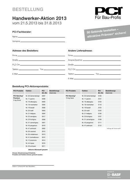 Download Bestellformular - PCI-Augsburg GmbH