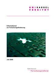 Informationen zur Forschungsförderung Juli 2009 - Universität Kassel