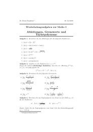 Ableitungen, Grenzwerte und Taylorpolynome