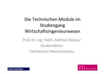 Die Technischen Module im Studiengang Wirtschaftsingenieurwesen