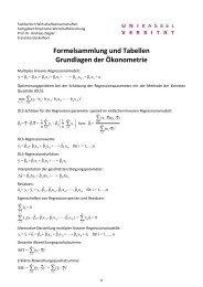 Formelsammlung und Tabellen Grundlagen der Ökonometrie