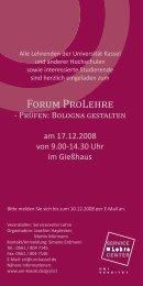FORUM PROLEHRE - Universität Kassel