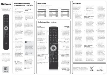Gebruikersgids afstandsbediening digitale televisie (zwart)
