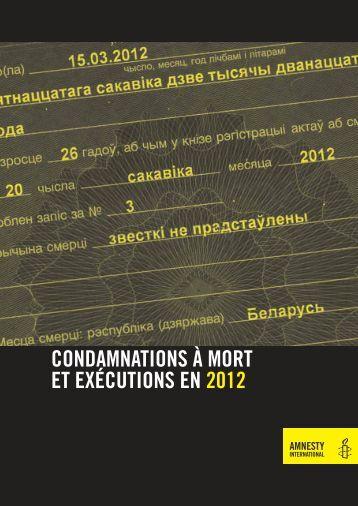 Condamnations à mort et exécutions en 2012 - Amnesty ...