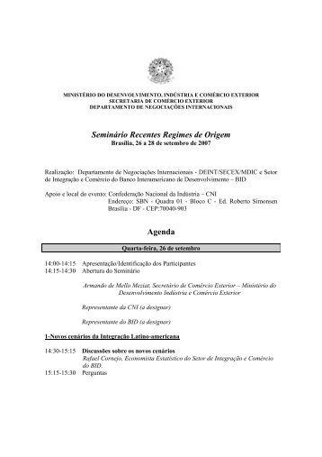 Seminário Recentes Regimes de Origem Agenda - Ministério do ...