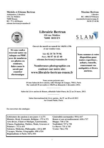 Catalogue décembre 2012 - Librairie Bertran