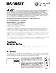 Le processus US-VISIT - Homeland Security