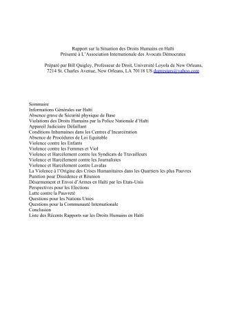 Rapport sur la Situation des Droits Humains en Haïti Présenté à L ...