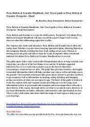 Peru, Bolivia & Ecuador Handbook, 3rd: Travel guide to Peru ...