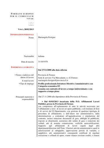 Ferrigno Mariangela - Provincia di Firenze