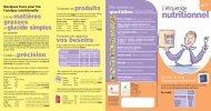 L'étiquetage nutritionnel - Pavillon de la Mutualité Prévoyance