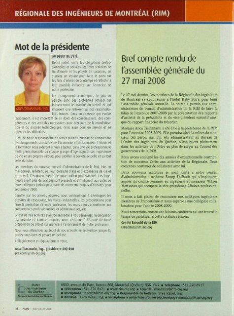 PLAN 2008-5 - Ordre des ingénieurs du Québec
