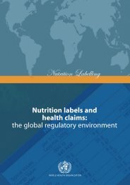 Nutrition labels and health claims: the global regulatory environment