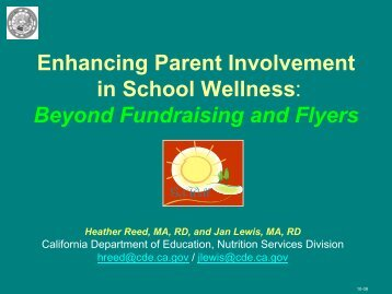 Enhancing Parent Involvement in School Wellness: Beyond ...
