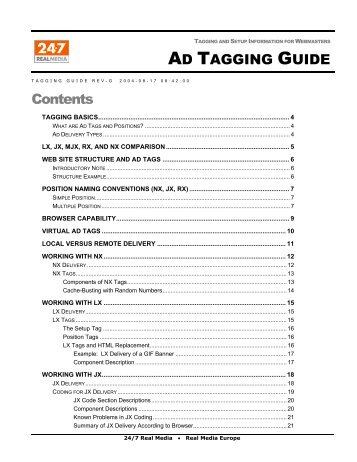 AD TAGGING GUIDE Contents - 24/7 Real Media