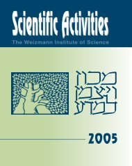 Scientific Activities - Weizmann Institute of Science