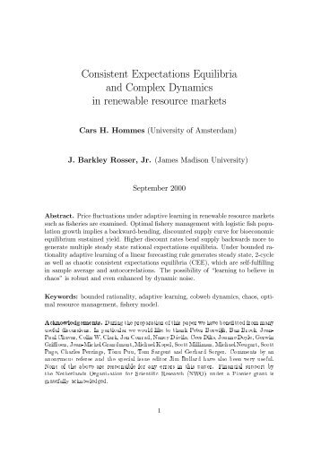 Consistent Expectations Equilibria and Complex Dynamics in ...