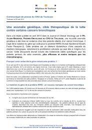 Une anomalie génétique, cible thérapeutique de la ... - CHU Toulouse