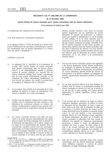 RÈGLEMENT (CE) No 1881/2006 - EUR-Lex - Europa