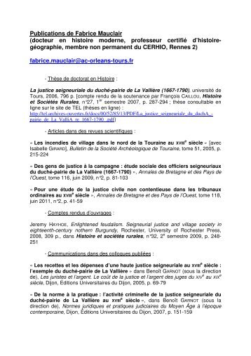 Publications de Fabrice Mauclair - Université Rennes 2