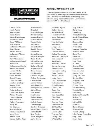 Spring 2010 Dean's List - College of Business - San Francisco State ...