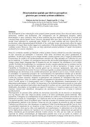 Désorientation spatiale par dérives perceptives générées par ...
