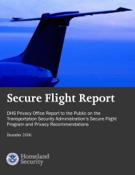 Secure Flight Report, December 2006 - Homeland Security
