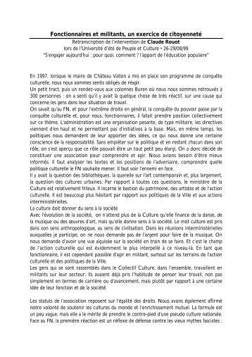 Claude Rouot, intervention Université d'été 1999, Peuple et Culture