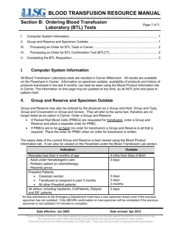 Ordering Blood Transfusion Laboratory (BTL) Tests - London Health ...