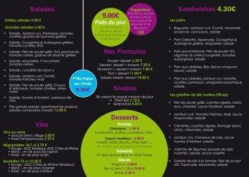 Nos Formules Soupes Sandwiches 4.30€ Desserts 9.00€ Salades ...