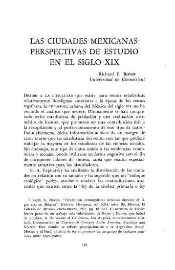 las ciudades mexicanas: perspectivas de estudio en el siglo xix