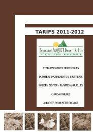 tarifs 2011-2012 - Bienvenue sur le site de la Pépinière Paquet & Fils