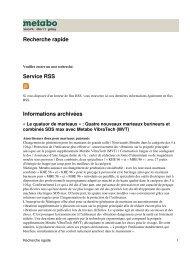 Recherche rapide Service RSS Informations archivées - Metabo