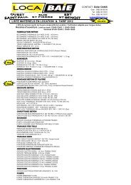 LISTE MATERIELS EN LOCATION & TARIF 2012 - LOCA BAIE à ...
