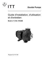 Guide d'installation, d'utilisation et d'entretien - Goulds Pumps