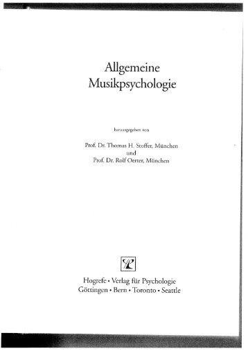 Allgemeine Musikpsychologie - Allgemeine Psychologie und ...