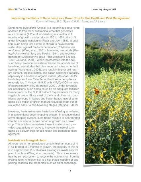 Improving the Status of Sunn hemp as a Cover Crop for Soil Health ...