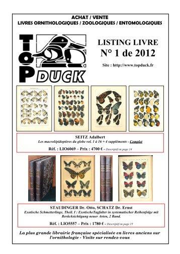 Catalogue N°1 2012 - Livre Rare Book