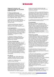 Allgemeine Verkaufs- und Lieferbedingungen - Talkline