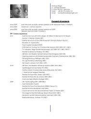 Excerpt of projects - Andreas Mirgel, Fernsehkameramann