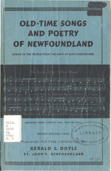 OLD-TIME SONGS AND POETRY OF NEWFOUNDLAND