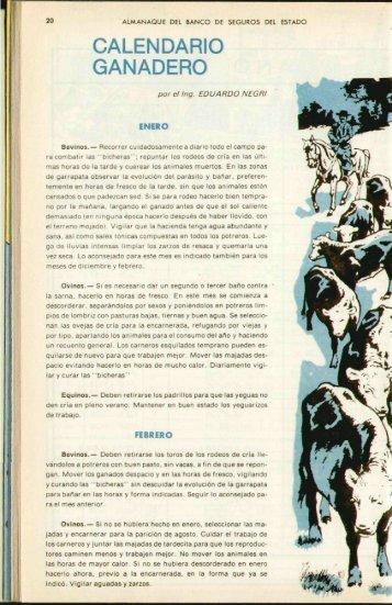 CALENDARIO GANADERO - Banco de Seguros del Estado