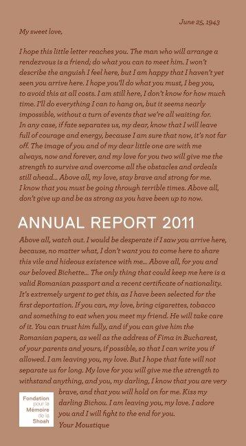 AnnuAl report 2011 - Fondation pour la Mémoire de la Shoah