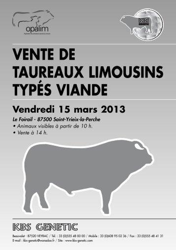 VENTE DE TAUREAUX LIMOUSINS TYPÉS VIANDE - KBS-Genetic
